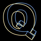 glowing letter Q isolated on black background