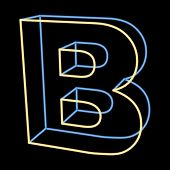 glowing letter B isolated on black background