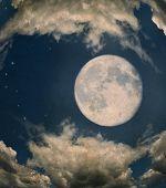 Grunge Image Of Full Moon