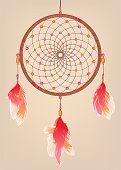 foto of dream-catcher  - traditional dream catcher with red orange and pink feathers and beads - JPG