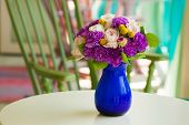 Wedding Bouquet With Cream Rose And Violet Carnation