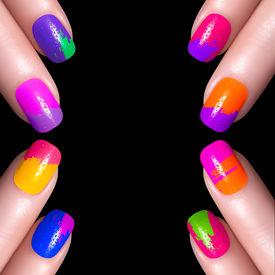 stock photo of nail paint  - Nail Polish. Art Manicure. Multi-colored Nail Polish. Beauty hands. Stylish Colorful Nails ** Note: Visible grain at 100%, best at smaller sizes - JPG
