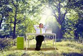 Relaxing Business Working Outdoor Green Nature Concept
