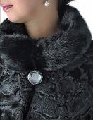 Fragment Of Female Fur Coats Black.