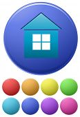 Illustration of different color icons of house
