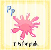 Illustration of a letter P is for pink