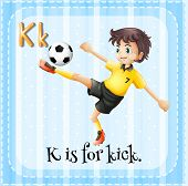 Illustration of a letter K is for kick
