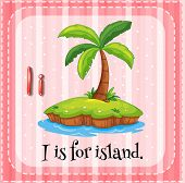 Illustration of a letter I is for island