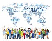 Global People Celebration Success Cheerful Teamwork Concept