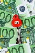 many euro banknotes in the vault. With a key