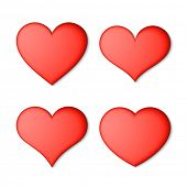 Red hearts set. Vector.