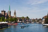 switzerland, zurich, great cathedral and river limmat