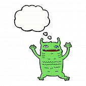 cartoon little monster with thought bubble