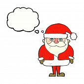cartoon santa claus with thought bubble