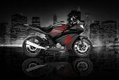 Motorcycle Motorbike Bike Riding Rider Contemporary Black Concept