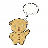 cartoon unhappy teddy bear with thought bubble