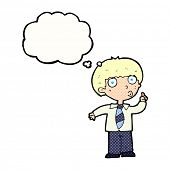 cartoon school boy with question with thought bubble