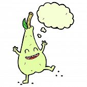 cartoon happy dancing pear with thought bubble
