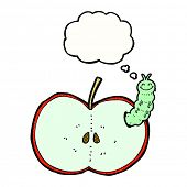 cartoon bug eating apple