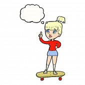 cartoon skater girl with thought bubble
