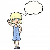 cartoon pretty woman waving with thought bubble