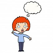 cartoon woman explaining her point with thought bubble