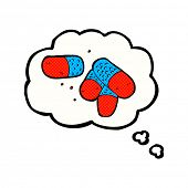 cartoon painkillers with thought bubble
