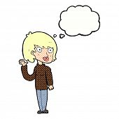 cartoon woman with thought bubble