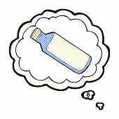 cartoon water bottle with thought bubble