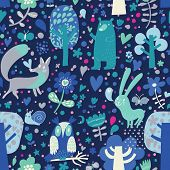 Blue colored floral seamless pattern with forest animals: bear, fox, owl, rabbit. Vector background with butterflies, snail, trees and flowers