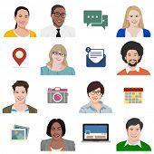 People Diversity Portrait Social Media Icon Vector