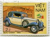 VIETNAM - CIRCA 1985: A stamp printed in Vietnam, shows 1930 Bucatti