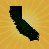 California sunburst map with hex code illustration