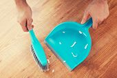 stock photo of broom  - cleaning and home concept  - JPG