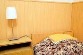 pic of motel  - bed in motel room  - JPG