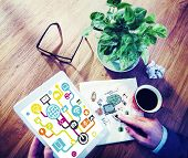 Businessman Planning Global Communications Networking Tablet Online Concept