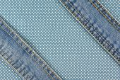Jeans With Stitch On Blue Dot Fabric