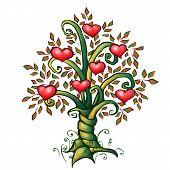 Vector illustration of cartoon love tree with hearts