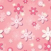 Pink Seamless Pattern With Flowers And Stars