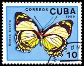Vintage  Postage Stamp. Butterfly Mynes Sestia.