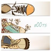 Business Backgrounds Set With Fashion Boots