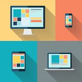Desktop computer, laptop, tablet and smart phone on color background flat vector illustration.