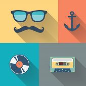 Hipster style flat vector illustration.