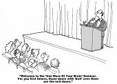 image of speaker  - Cartoon of a seminar speaker at a podium with audience talking about  - JPG