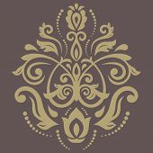 Orient Vector Pattern. Abstract Golden Ornament