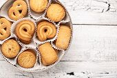 Bisquits on wooden background