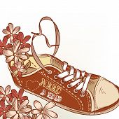 Fashion Hand Drawn Sport Boot With Flowers Need A Pair Valentine Card