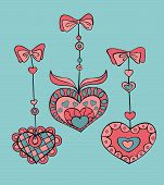 Vector Set Of Doodle Hand-drawn Hearts For Valentine's Day