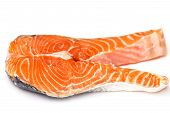 Raw Salmon Red Fish Steak Isolated On White