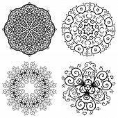 Vector set of 4 abstract floral vintage round symmetric lace ornament